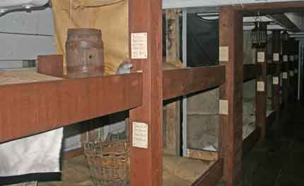 Cramped conditions inside a famine ship - four people to a bunk!