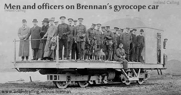 Men and officers on Brennan gyrocope car Image copyright Ireland Calling