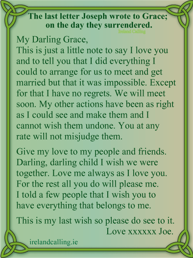 The last letter by Plunkett to his fiancée Grace Gifford. Image copyright Ireland Calling