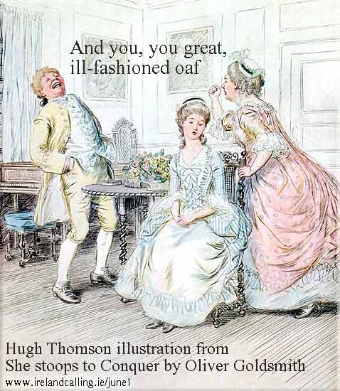 Hugh Thomson illustration from  She stoops to Conquer by Oliver Goldsmith
